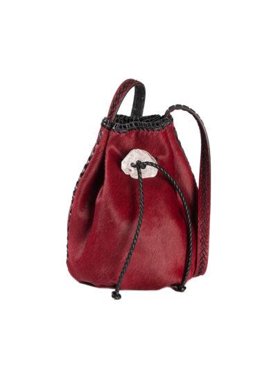 Iacobella borsa mini Nirmala secchiello pelle cavallino chiusura pietra