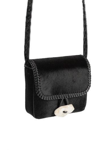 Iacobella mini borsa a tracolla tikuna in cavallino nero