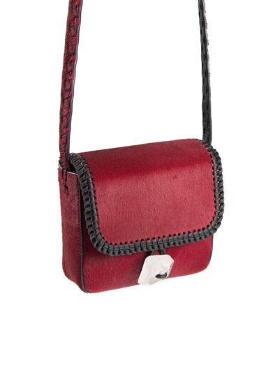 Iacobella mini borsa a tracolla tikuna in cavallino rosso