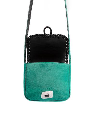 mini borsa a tracolla tikuna in cavallino verde iacobella