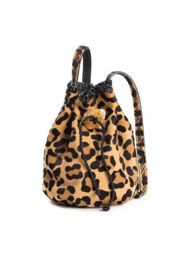 Iacobella borsa secchiello leopardato pelle cavallino chiusura coulisse