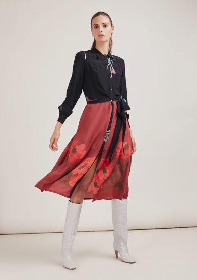 Mantero 1902 abito chemisier midi in seta Marisa stampa rossa
