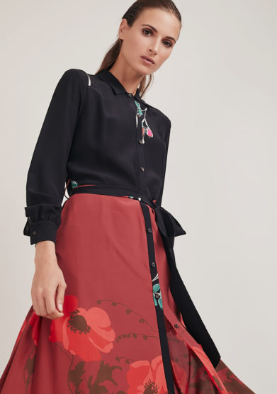 abito chemisier midi in seta Marisa stampa rossa mantero