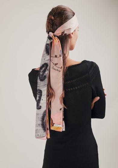 bandeau Portobello in seta maxi plissè bianco fantasia mantero