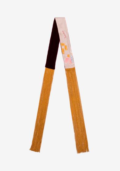 Mantero 1902 bandeau pippi in seta e velluto seta avorio con frange