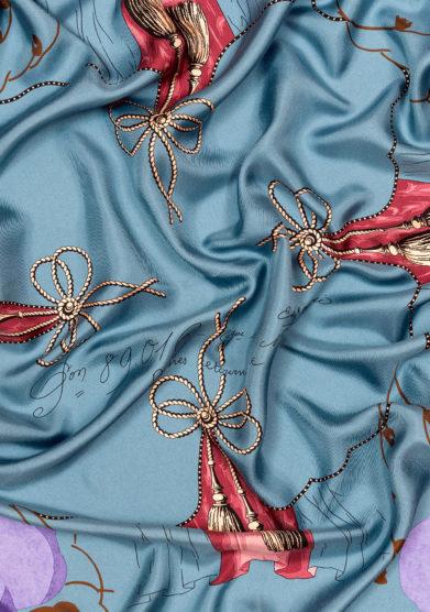 foulard mantero 1902 Classic Carré Poppy Field azzurro