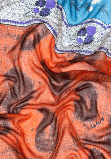 Mantero 1902 foulard Small Carré From Mum's Closet arancione fantasia