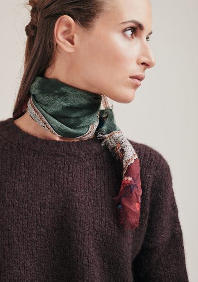 Mantero 1902 foulard Small Carré From Mum's Closet verde fantasia lana