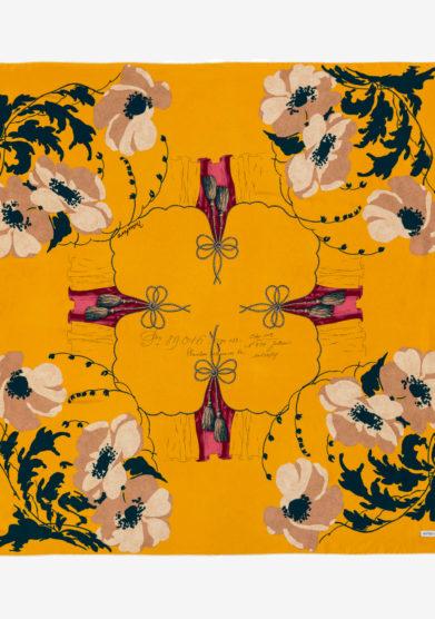 Mantero 1902 foulard classic carrè poppy field giallo