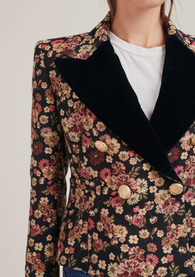 Nasco unico blazer doppio petto corto fiorellini jaquard rever velluto