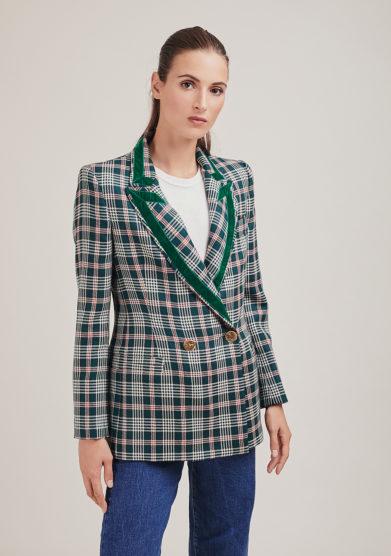 Nasco unico blazer doppio petto in lana a quadri verde