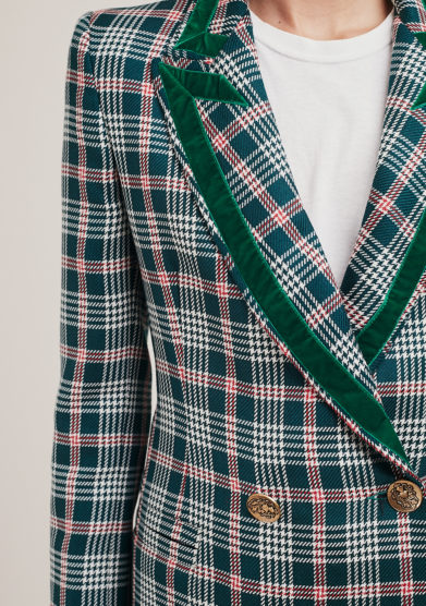 blazer doppio petto in lana a quadri verde nasco unico