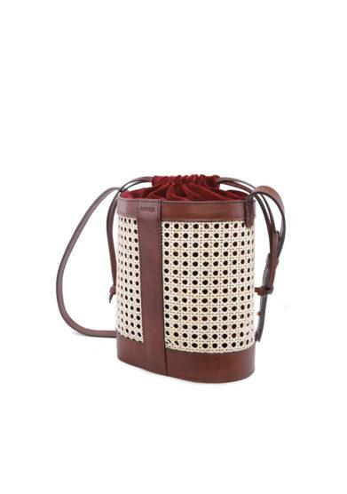 Sarta borsa Pablo cuoio paglia tracolla interno velluto rosso