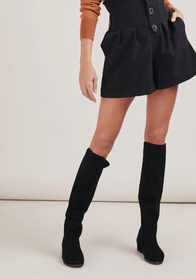 stivale valentina sopra il ginocchio in pelle scamosciata nero socksi milano