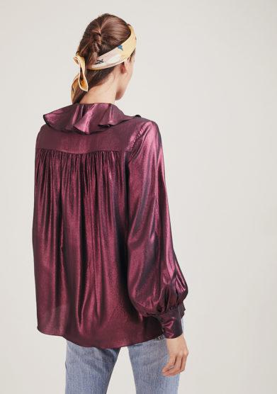 Vernisse camicia morbida Build me up in seta rosa cangiante