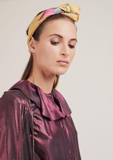 camicia Build me up in seta rosa cangiante vernisse