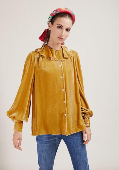 Vernisse camicia Build me up in velluto di seta dorato