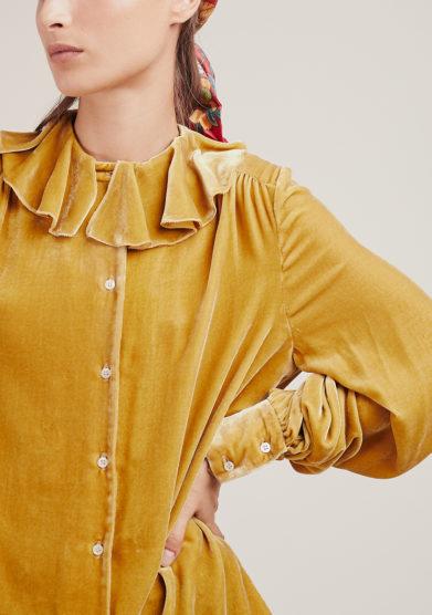 camicia Build me up in velluto di seta dorato vernisse