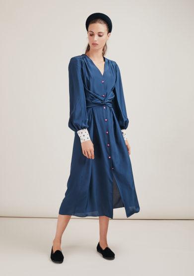 Vernisse vestito Oopsy Daisy in seta crepe de chine blu