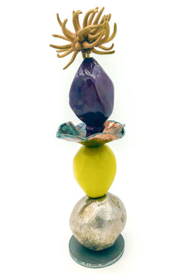 Zanellazine vaso bloomed 30 ceramica supporto ferro giallo viola limited edition