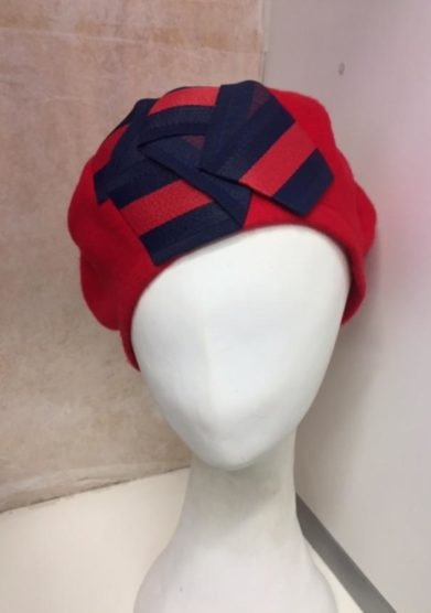 Altalen cappello basco origami blu lana rosso