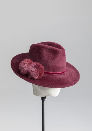 Anperfect cappello fedora Luthien bordeaux feltro ponpon