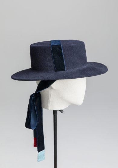 Anperfect cappello Elenna kanotier blu feltro velluto