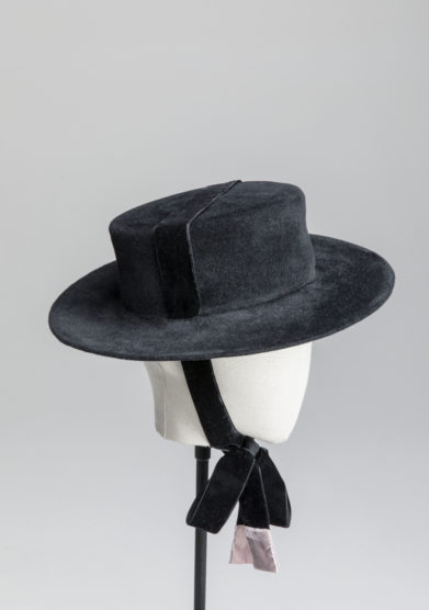 Anperfect cappello Elenna kanotier nero feltro nastro velluto