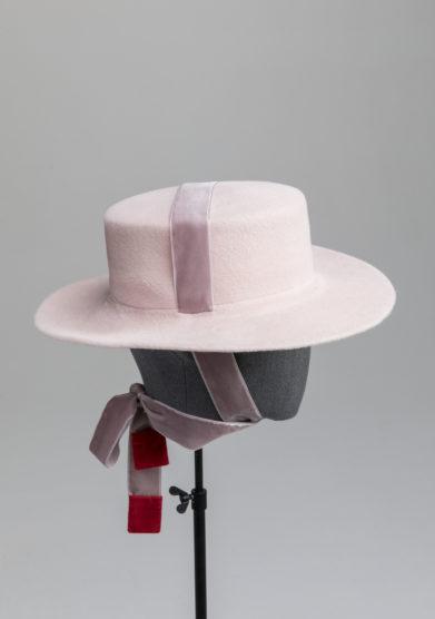 Anperfect cappello Elenna kanotier rosa cipria feltro nastro velluto