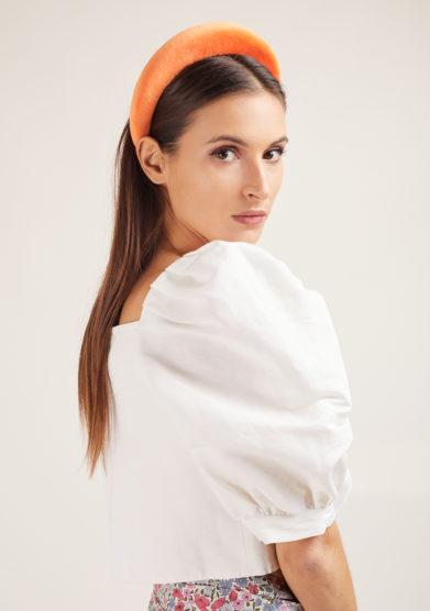 cerchietto cotton velvet arancio bleutiful milano