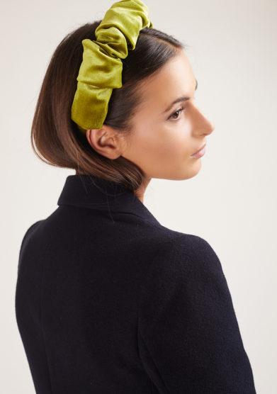 Bluetiful milano cerchietto velluto increspato curly velvet verde kiwi