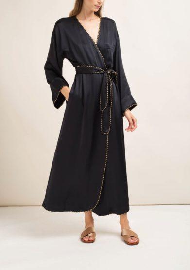 Caftanii kimono lungo kimi in seta nero