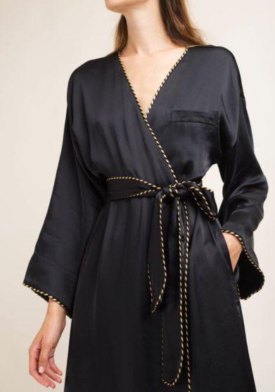 kimono lungo kimi in seta nero caftanii