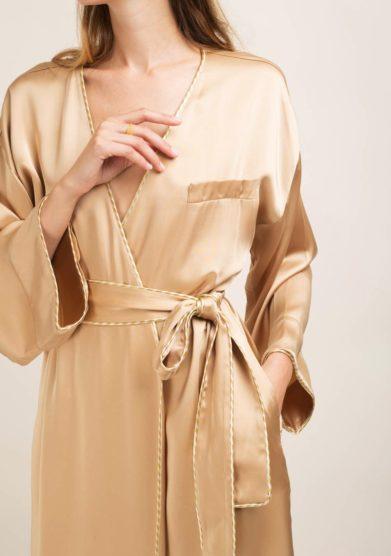 kimono lungo kimi in seta oro caftanii