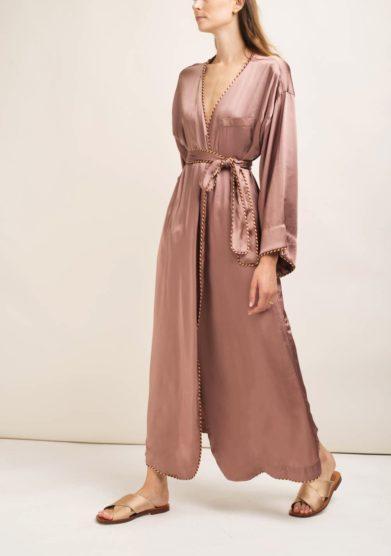 Caftanii kimono lungo kimi in seta rosa antico