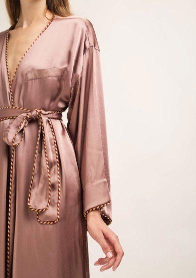 kimono lungo kimi in seta rosa antico caftanii