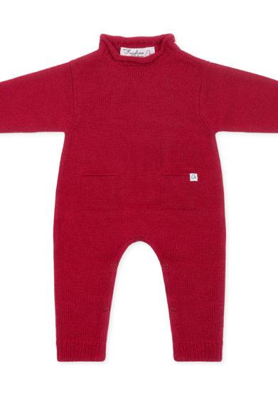 Fagiolino Cashmere tutina neonato in cashmere rossa