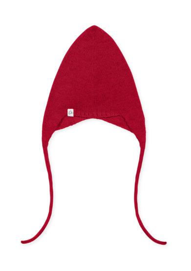 Fagiolino cashmere berretto frichì neonato in cashmere rosso con laccetti