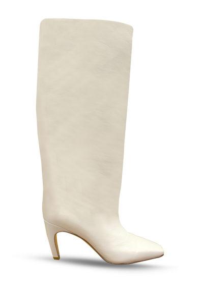 Gia couture stivale alto clizia in pelle crema