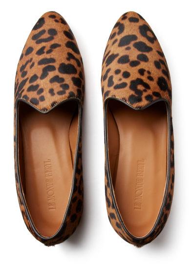 venetian slipper leopardata in pelle di vitello effetto cavallino le monde beryl