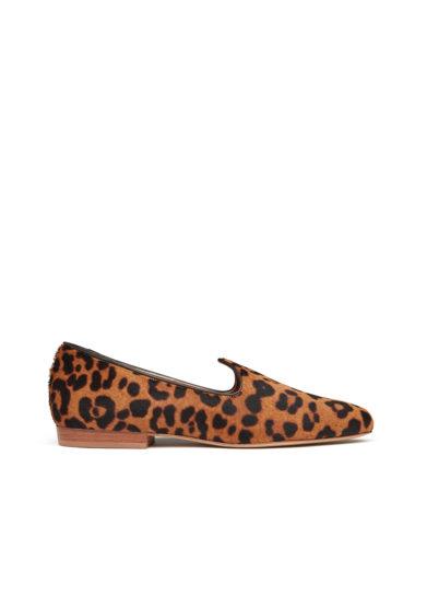 Le monde beryl venetian slipper leopardata in pelle di vitello effetto cavallino