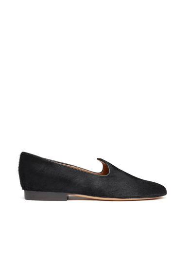 Le monde beryl venetian slipper nera in pelle di vitello effetto cavallino