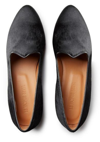 venetian slipper nera in pelle di vitello effetto cavallino le monde beryl