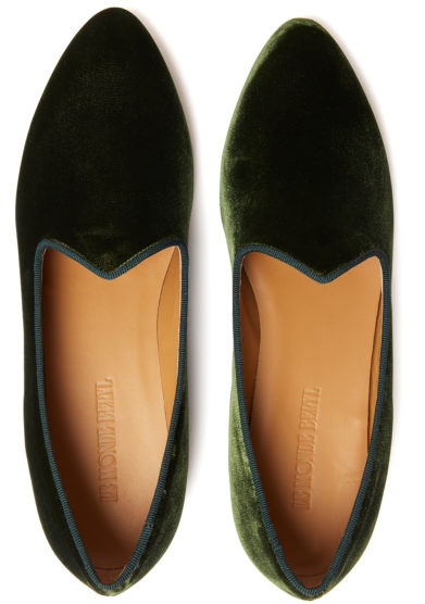 venetian slipper verde bosco in velluto le monde beryl
