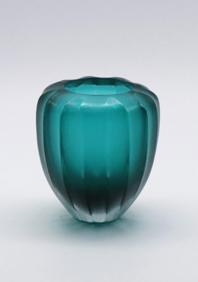 Micheluzzi Glass vaso goccia smeraldo vetro murano personalizzabile