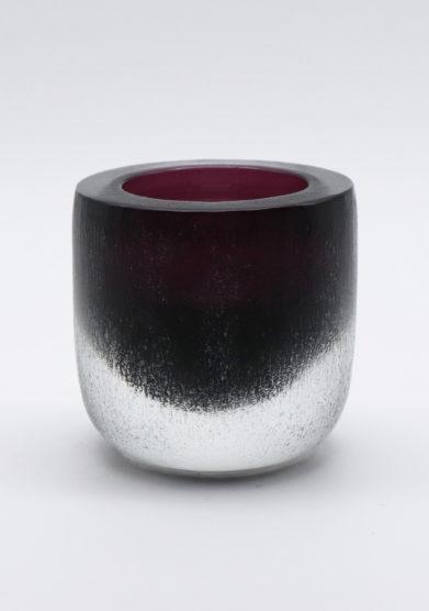 Micheluzzi Glass vaso ametista rullo vetro murano