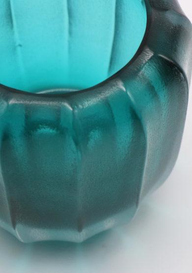Micheluzzi Glass rullo smeraldo vaso vetro murano