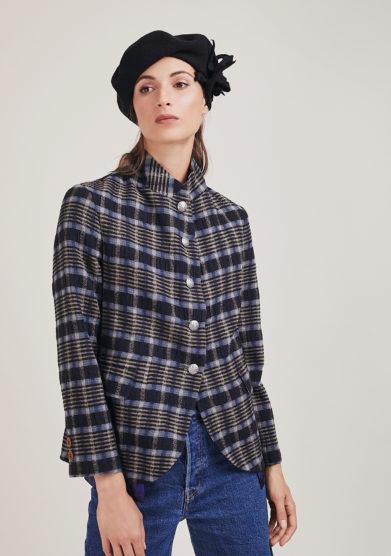 Nasco Unico giacca garza blu quadri lana