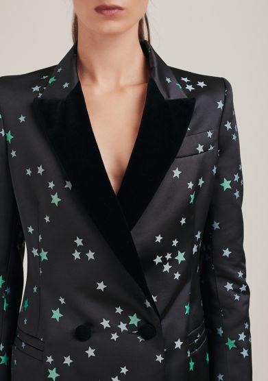 Nasco Unico blazer nero fantasia stelle verdi doppio petto