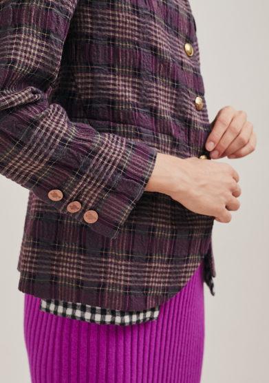 Nasco Unico blazer viola quadri destrutturato bottoni